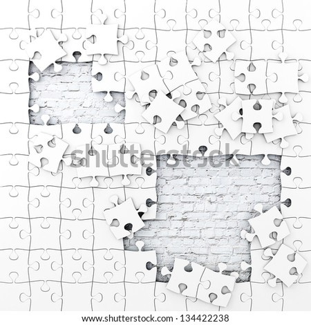 Wall Behind the Puzzle, Jigsaw Illustration - stock photo