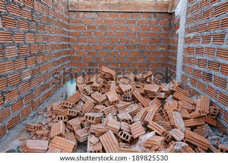 Wall brick of building construction site - stock photo