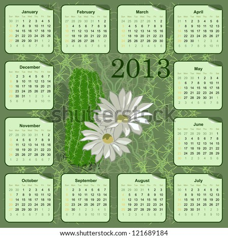 wall calendar for 2013 with flowers - stock photo