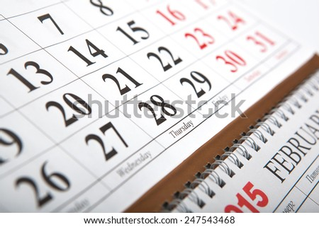 wall calendars laid on the table close up