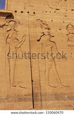 Wall carving, Philae Temple, Lake Nasser, Egypt - stock photo