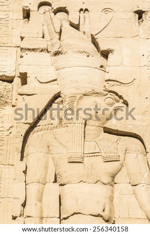 Wall carving, the temple of Isis from Philae, Egypt - stock photo
