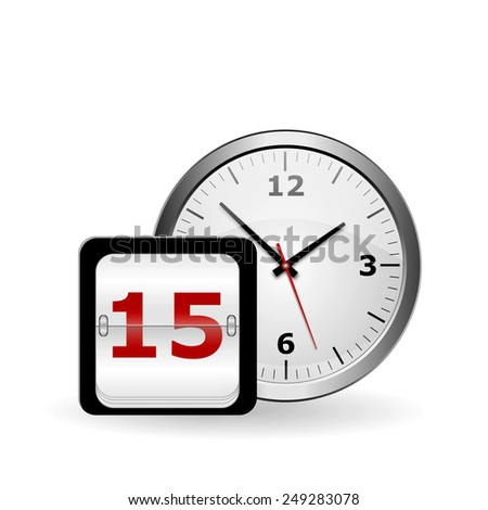 wall clock and calendar with the date on a white background - stock photo
