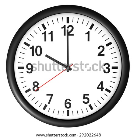 Wall clock icon and symbol for business and time concept with a full front view of a black and white office watch with clean design showing 10 O'Clock illustration isolated on white background. - stock photo