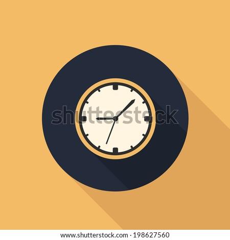 wall clock icon. flat style illustration. raster version - stock photo