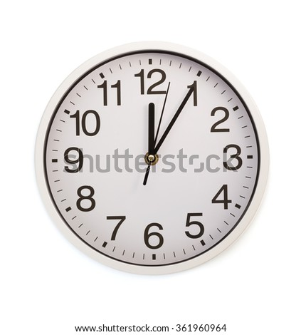 wall clock isolated on white background - stock photo