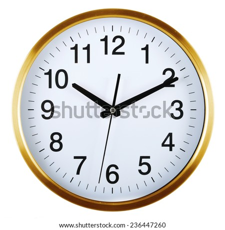 Wall clock isolated on white background. Ten past ten