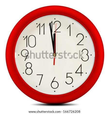Wall clock isolated on white background. Twelve o'clock - stock photo