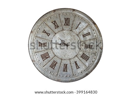 Wall clock old rusty grunge isolate on white background, (with clipping path) - stock photo