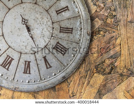Wall clock old rusty grunge on wooden wall background, (with clipping path) - stock photo