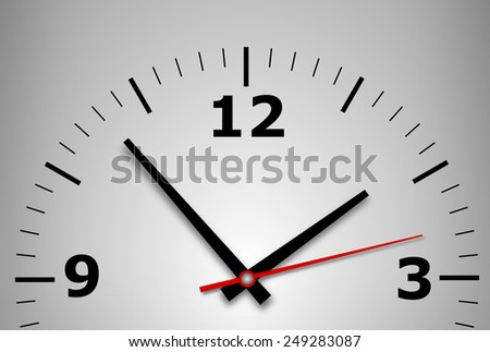 wall clock on a gray background with arrows and numbers