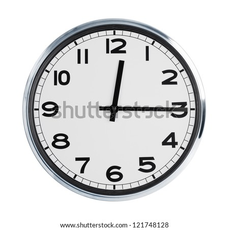 Wall clock on a white background show time - stock photo