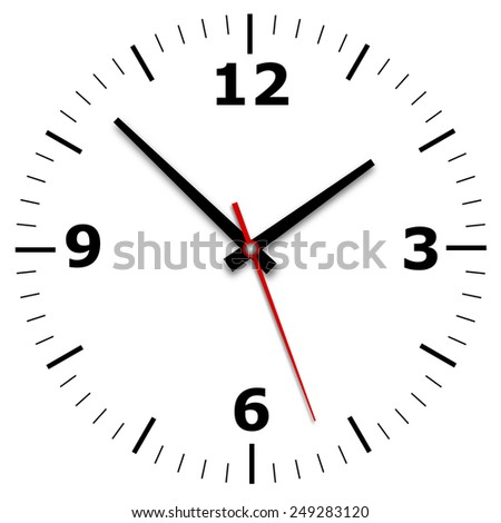 wall clock on a white background with hands and numerals