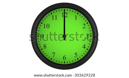 Wall clock showing a 60 minutes green time interval, isolated on a white background. Realistic 3D computer generated image.