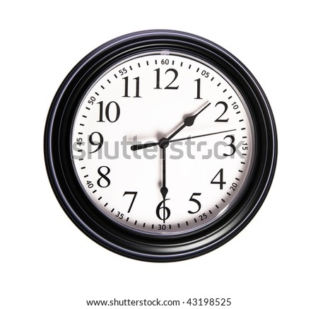 Wall clock shows 01:30 on white isolated background
