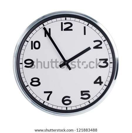 Wall clock shows the time - two hours of day - stock photo