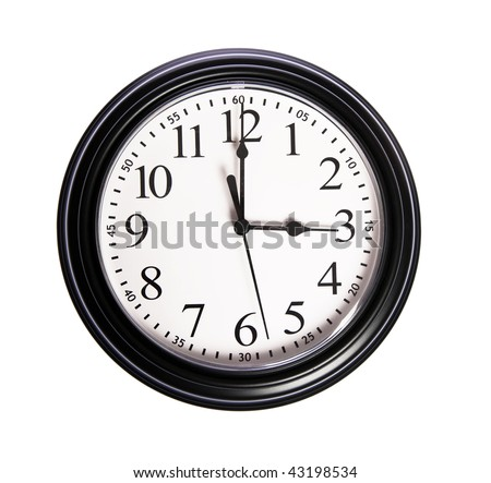 Wall clock shows time 3:00 o'clock on white isolated background