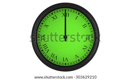 Wall clock with Roman numerals showing a 60 minutes green time interval, isolated on a white background. Realistic 3D computer generated image.