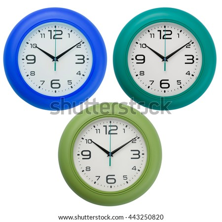 Wall clocks isolated on white background. Include clipping path. - stock photo