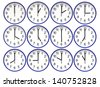 Wall clocks set on white background. - stock photo