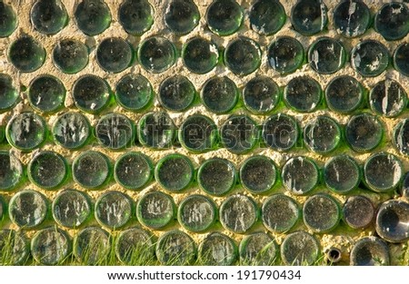Wall constructed with wine bottles