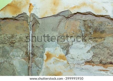 Wall damaged by moisture - stock photo