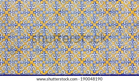 Wall Decorated With Blue and Yellow Azulejos - stock photo
