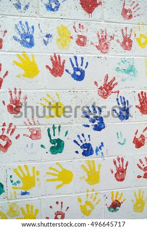 wall decorated with colored fingerprint