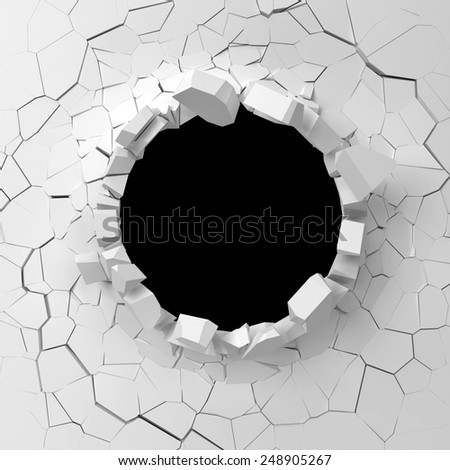 Wall destruction. 3d illustration isolated on white background