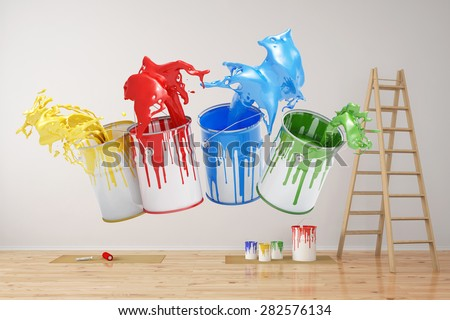 Wall during renovation with colorful splashing paint cans (3D Rendering) - stock photo