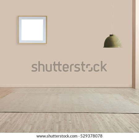 wall empty interior decoration lamp and wooden floor concept, spacious living area decorated with modern carpet designed