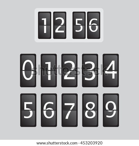 Wall flap counter clock template. Time clock