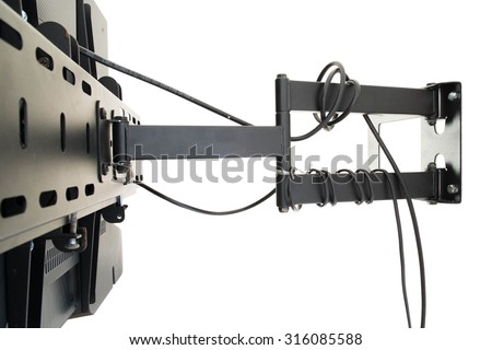 Wall hanging equipment of TV with TV signal wire - stock photo