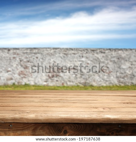 wall in  garden and desk  - stock photo