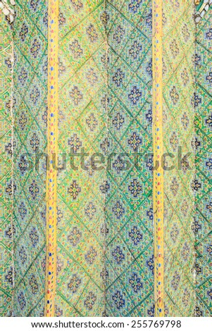 Wall in Grand Palace or Temple of the Emerald Buddha, Bangkok, Thailand - stock photo