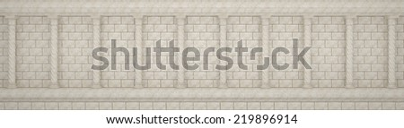 Wall made ??of stones and ancient columns - stock photo