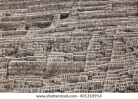 wall of adobe on a sunny day - stock photo