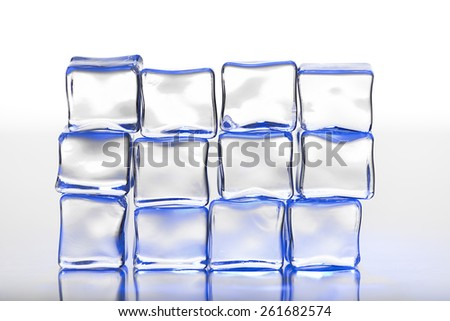 Wall of  blue ice cubes, for cold, winter related themes - stock photo