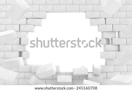 Wall of broken brick - stock photo