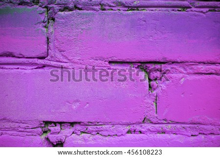 Wall of colored bricks, close-up macro