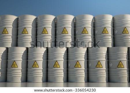Wall of Dangerous Biohazard Waste Barrels. - stock photo