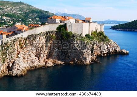 Wall of Dubrovnik city, Eastern Europe, Croatia - stock photo