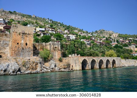 Wall of fortress in Alanya, Turkey  - stock photo