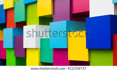 Wall of multicoloured squared blocks