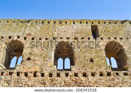 Wall of old castle Smederevo with double-arched windows. Fortress was built by Despot Djuradj Brankovic between 1427 and 1430.