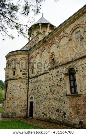 Wall of old orthodox church in Serbia                                - stock photo
