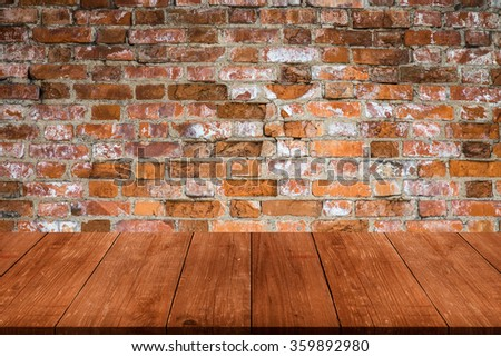 Wall of old red bricks. Background. View from dark wooden gangway, table or bridge. Collage. - stock photo