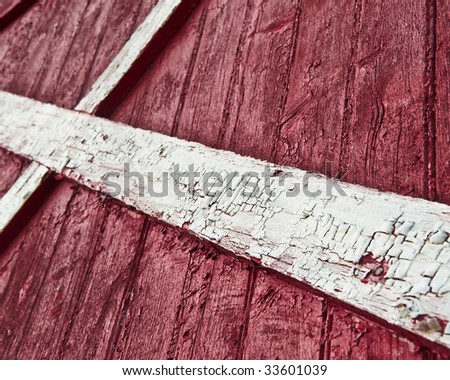 Wall of red barn wood surface at Up state New York. - stock photo