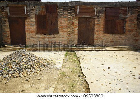 wall of ruins temple - stock photo