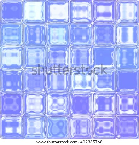 Wall of shiny glass tiles, blue sky view, repeating seamless pattern